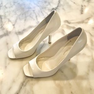 BCBGeneration White Patent Leather Open-Toe Pumps